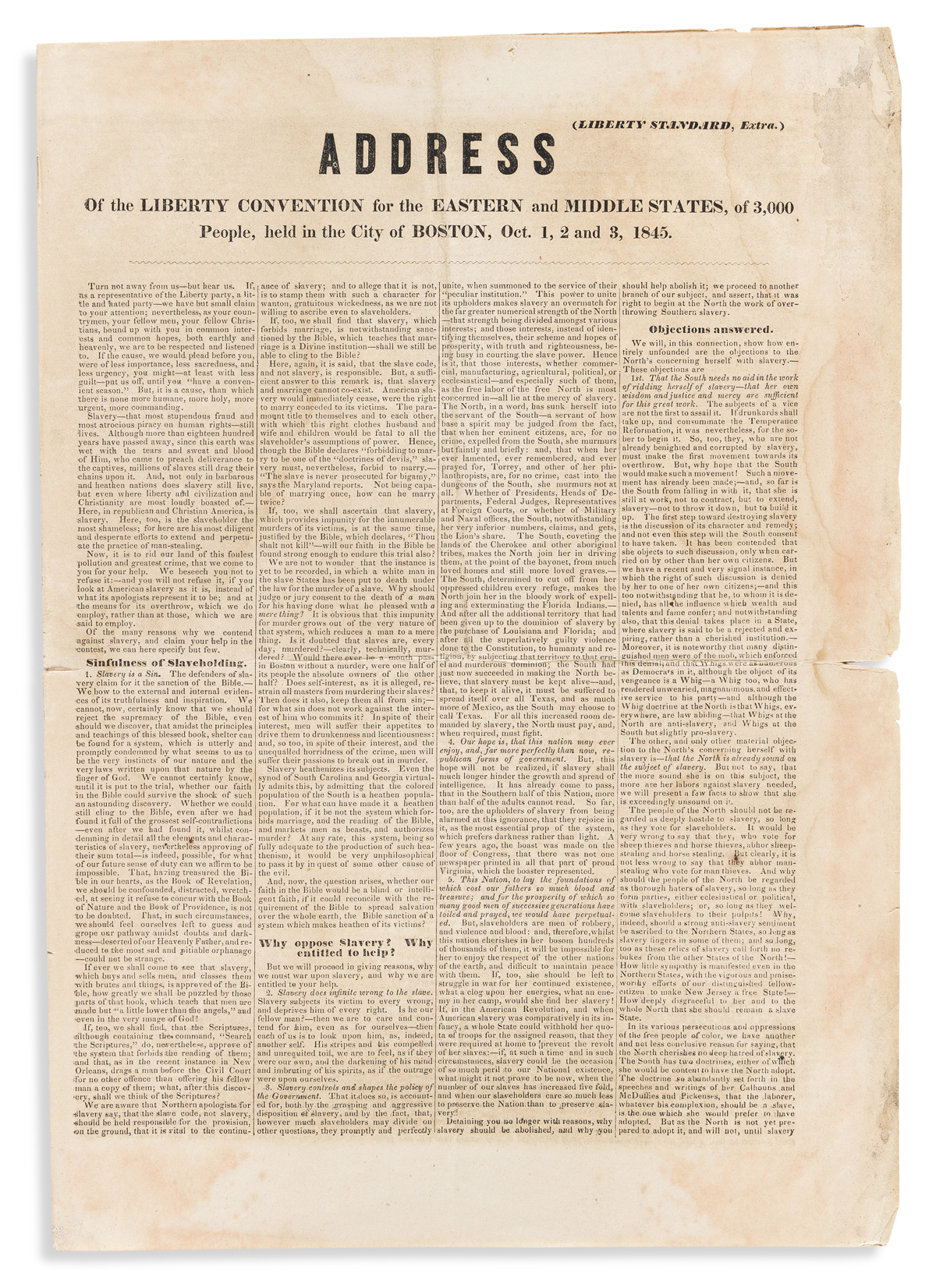 (SLAVERY AND ABOLITION.) Address of the Liberty Convention for the Eastern and Middle States.