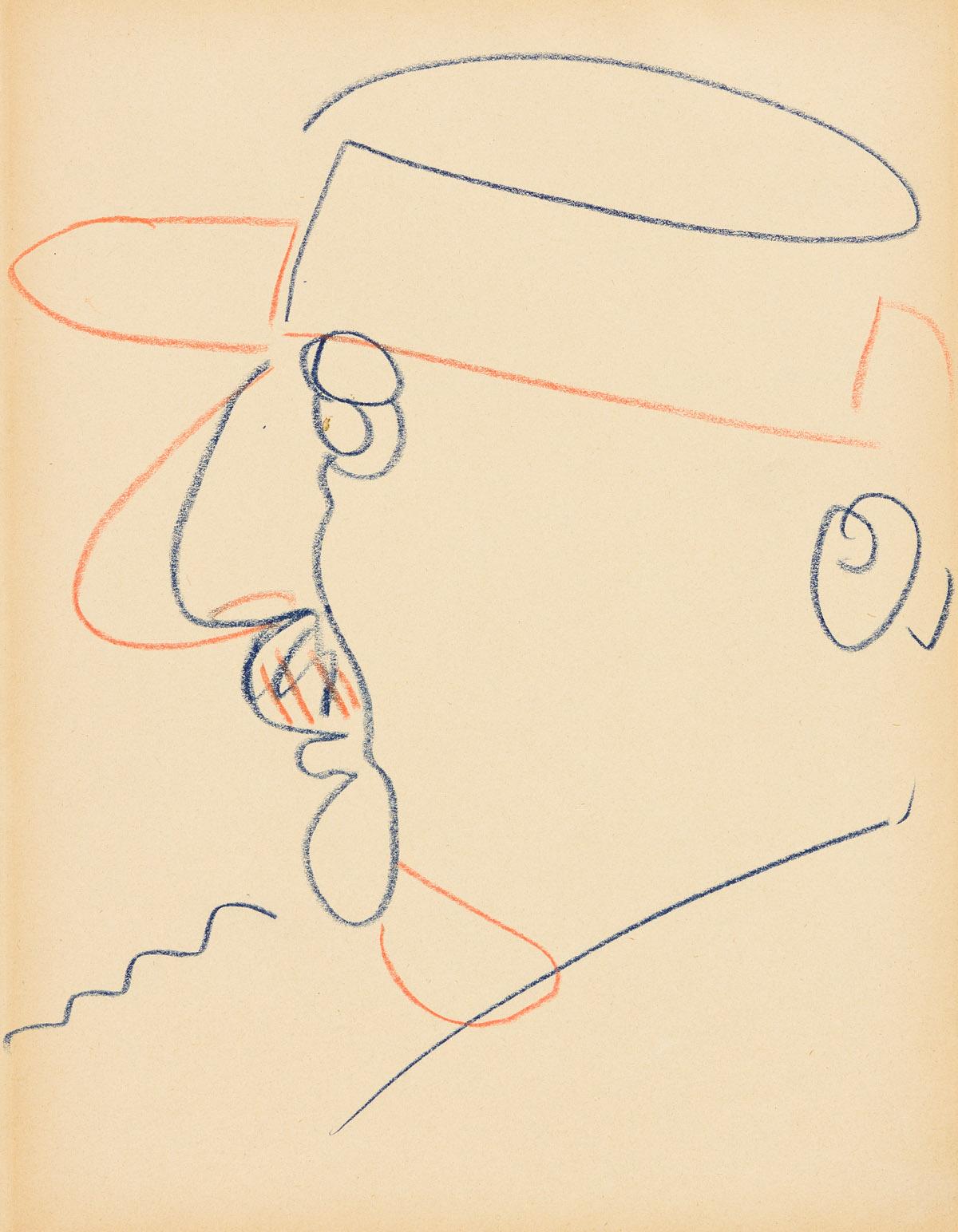 JOHN GRAHAM (1886-1961) Two color pencil portrait drawings.