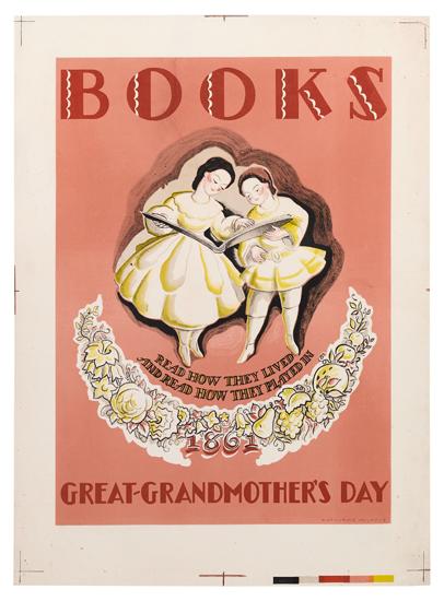 KATHERINE MILHOUS (1894-1977). BOOKS / GREAT-GRANDMOTHERS DAY. 28x20 inches, 71x51 cm.