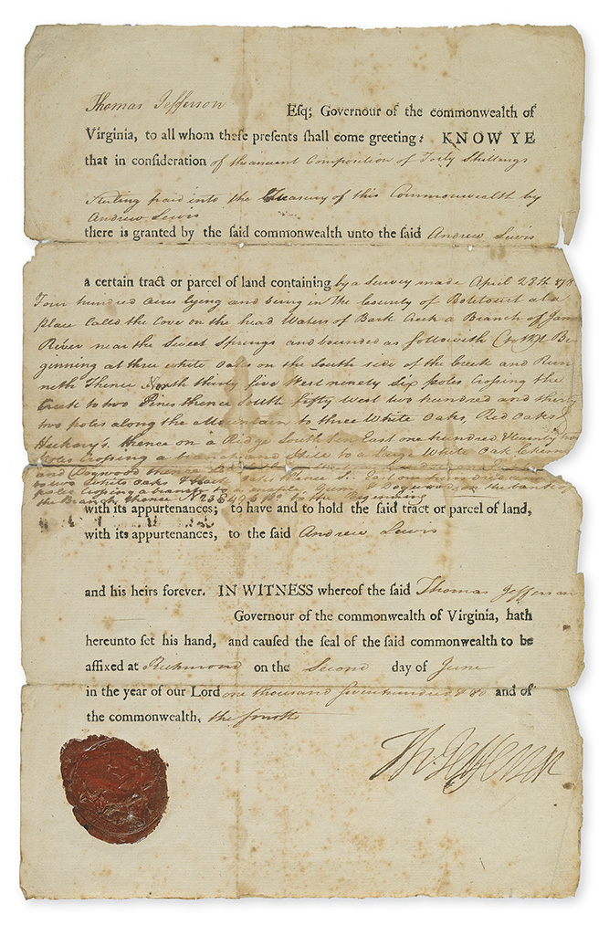 (AMERICAN REVOLUTION.) THOMAS JEFFERSON. Partly-printed Document Signed, Th:Jefferson, as Governor,
