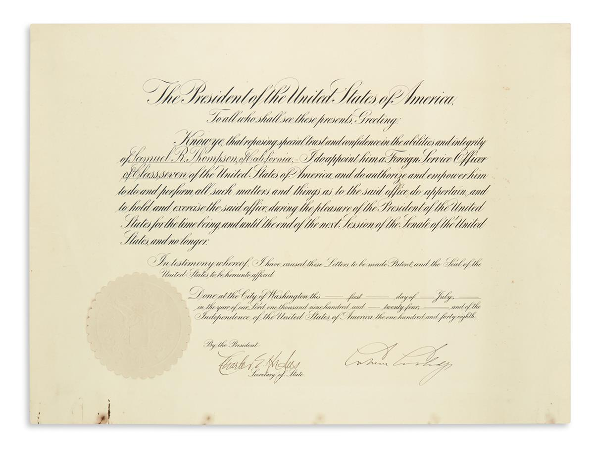 CALVIN-COOLIDGE-Partly-printed-Document-Signed-as-President-