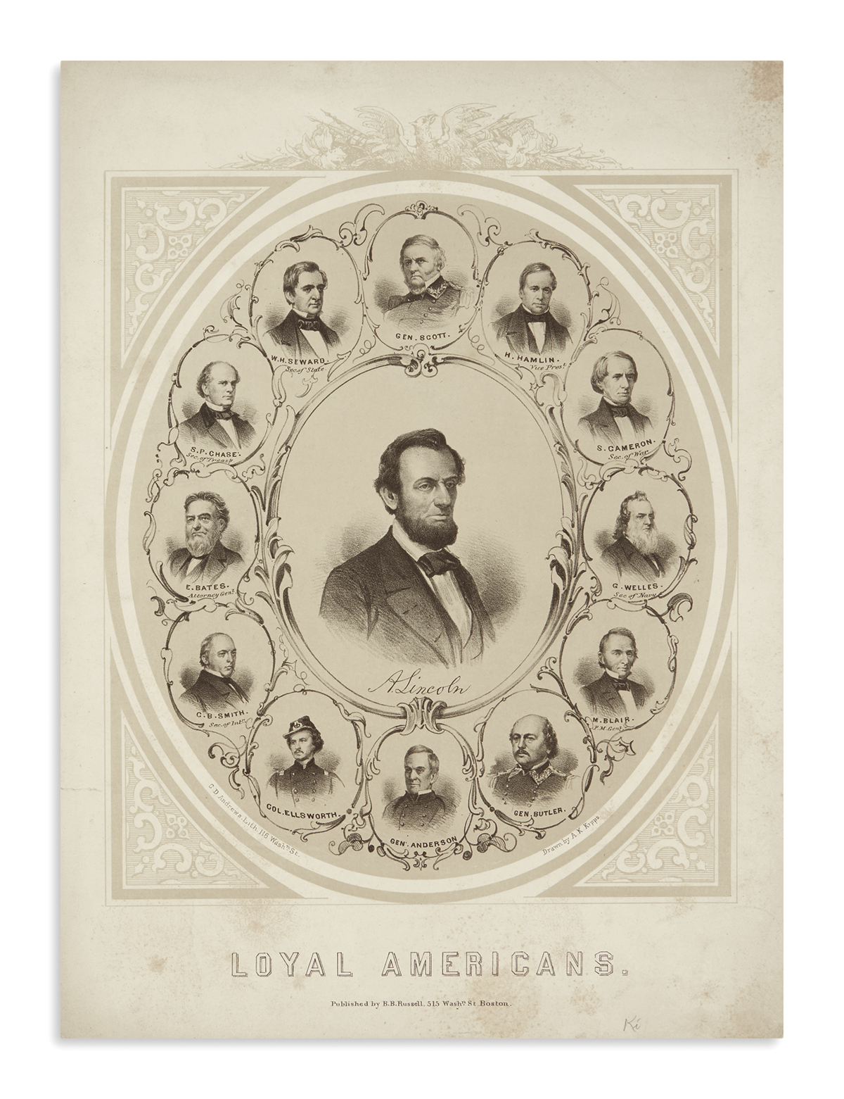 (PRINTS--PRESIDENTIAL)-Andrews-CD-lithographer;-after-AK-Kip