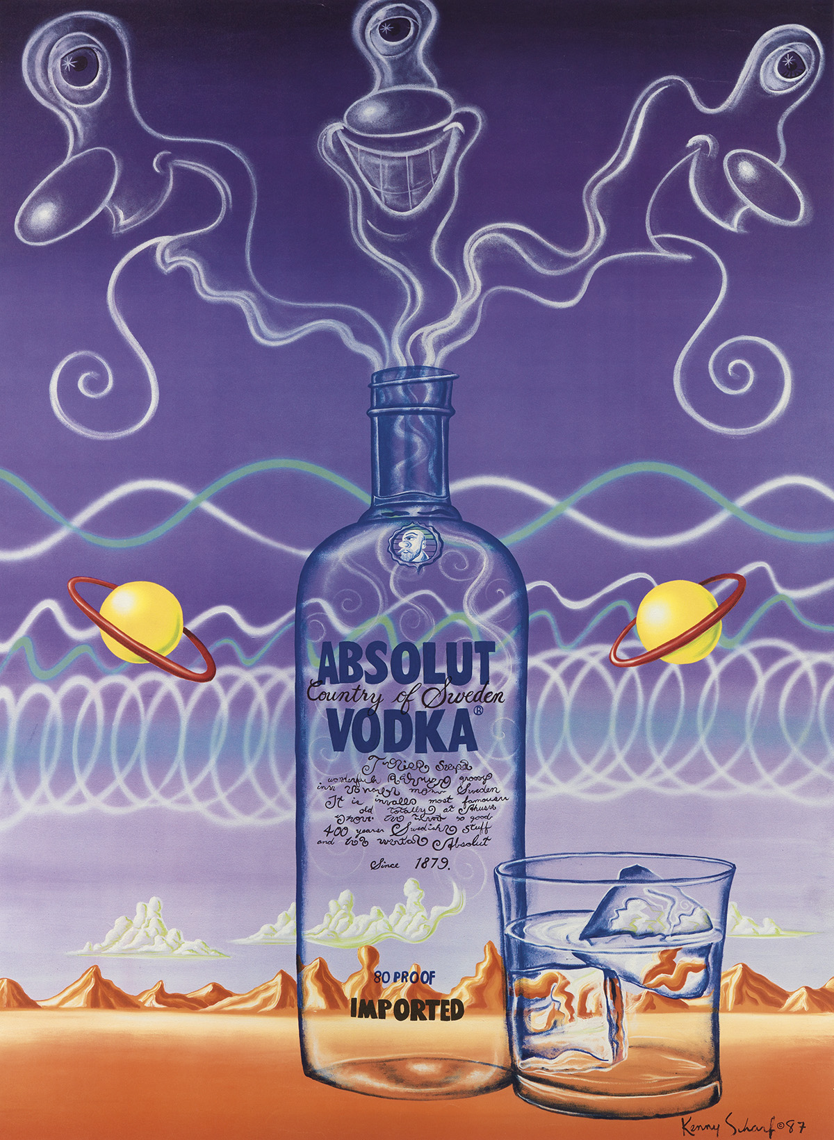KENNY-SCHARF-(1958--)-ABSOLUT-VODKA-1987-45x33-inches-115x83