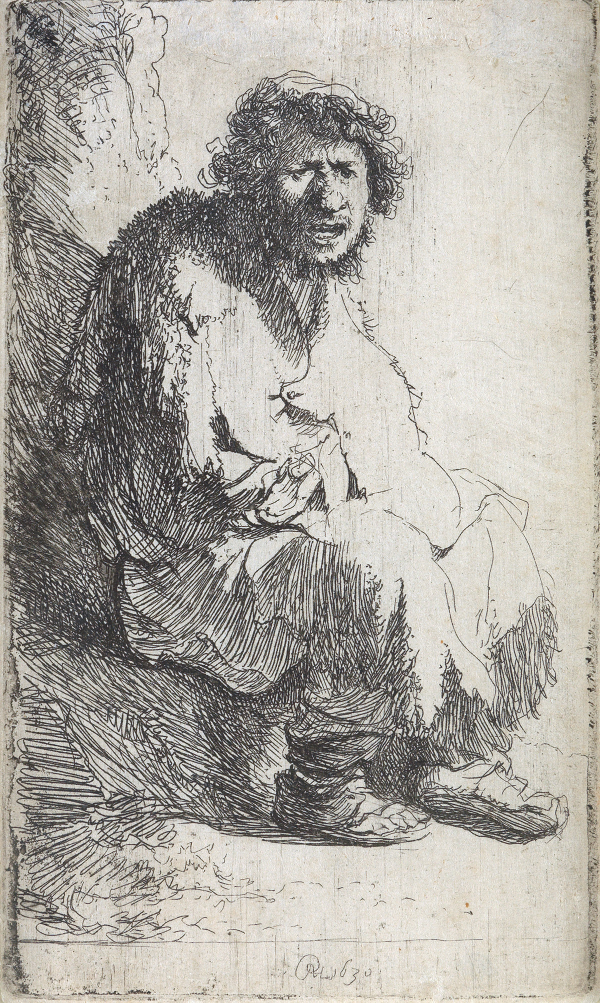 REMBRANDT-VAN-RIJN-A-Beggar-Seated-on-a-Bank