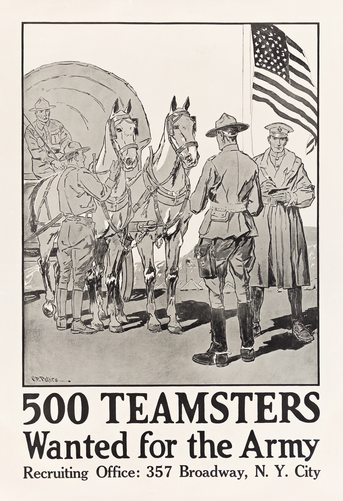 CHARLES FREDERICK PETERS (1882-1948).  500 TEAMSTERS WANTED FOR THE ARMY. 33¼x22¾ inches, 84½x57¾ cm.