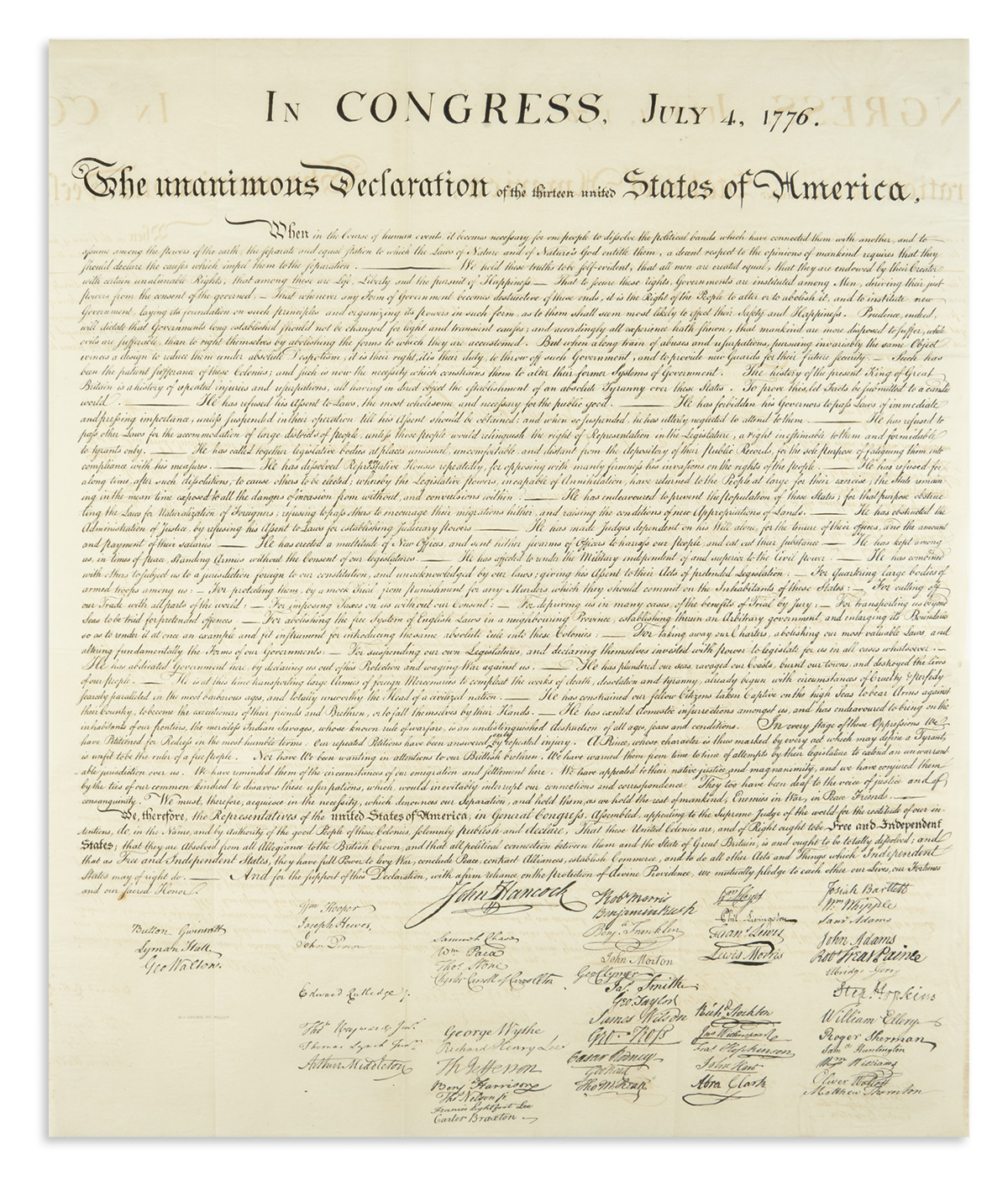 (DECLARATION OF INDEPENDENCE.) Stone, William J.; engraver. In Congress, July 4, 1776. The Unanimous Declaration