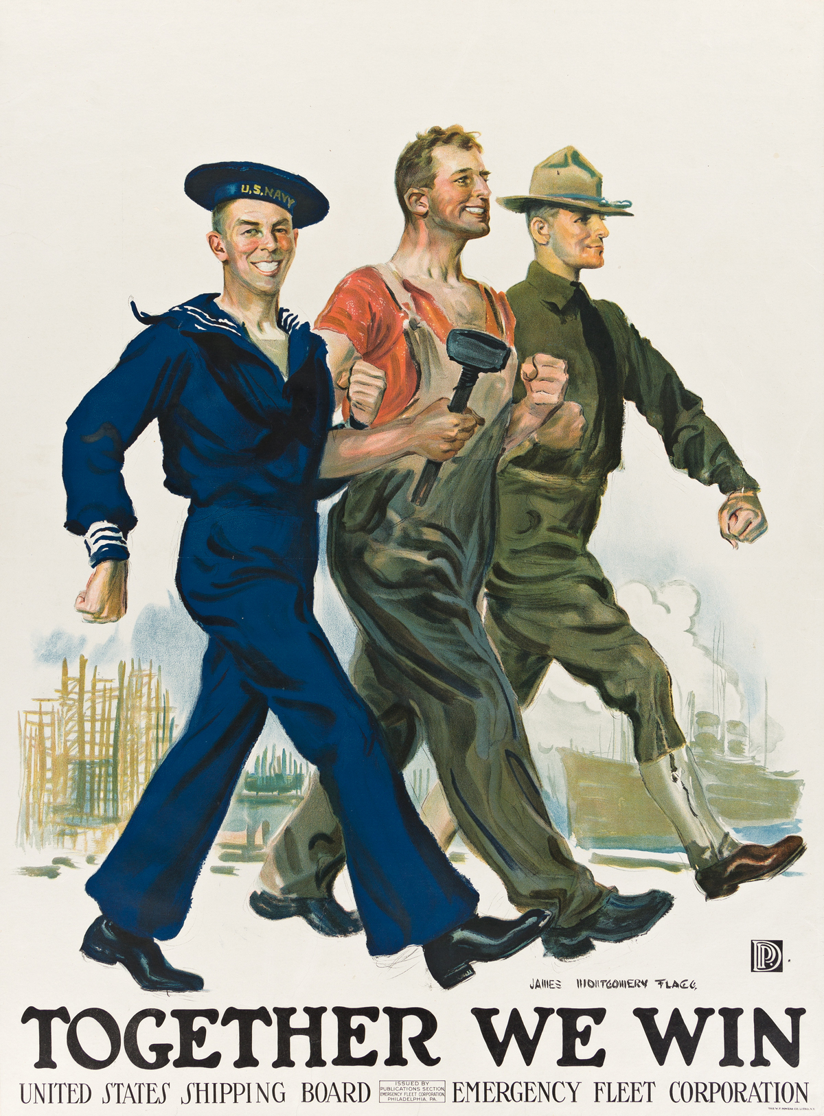 JAMES MONTGOMERY FLAGG (1870-1960).  TOGETHER WE WIN. Circa 1918. 39x29 inches, 99x73½ cm. The W.F. Powers Co. Litho, New York.