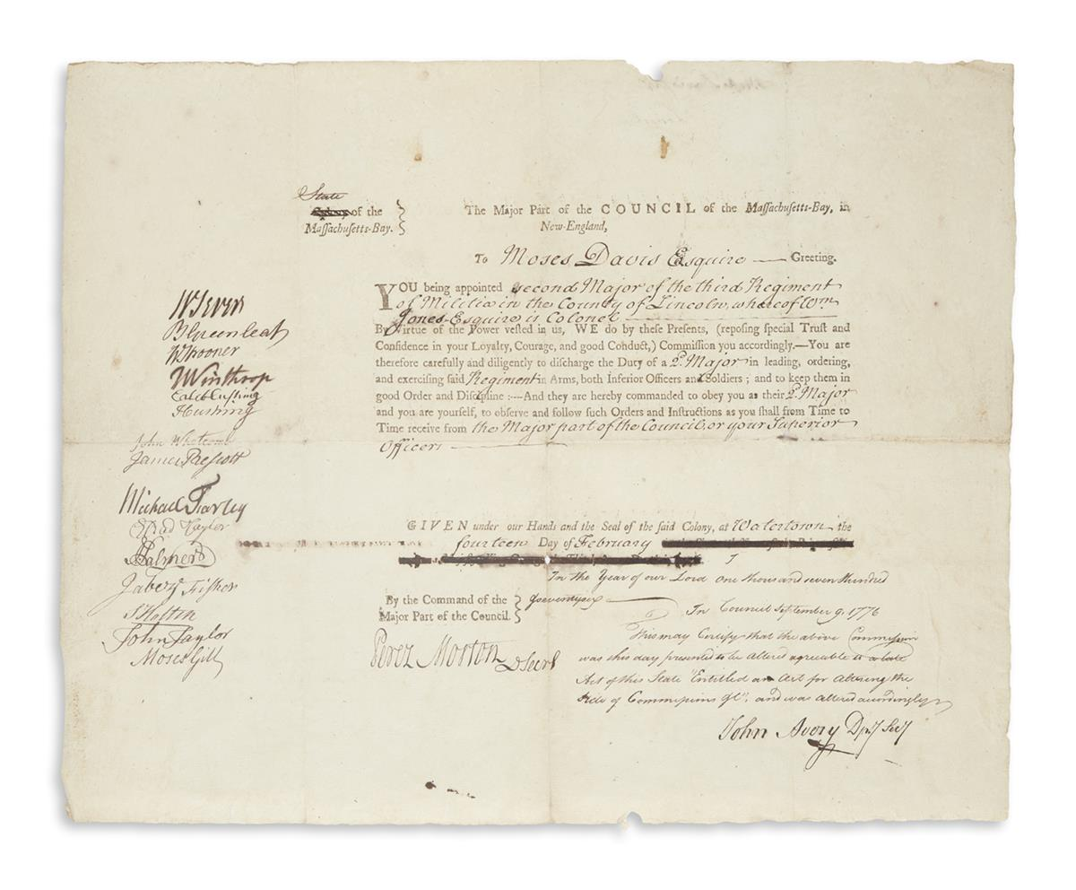(AMERICAN REVOLUTION.) Commission issued to a militia colonel during the Siege of Boston--with King Georges name crossed out