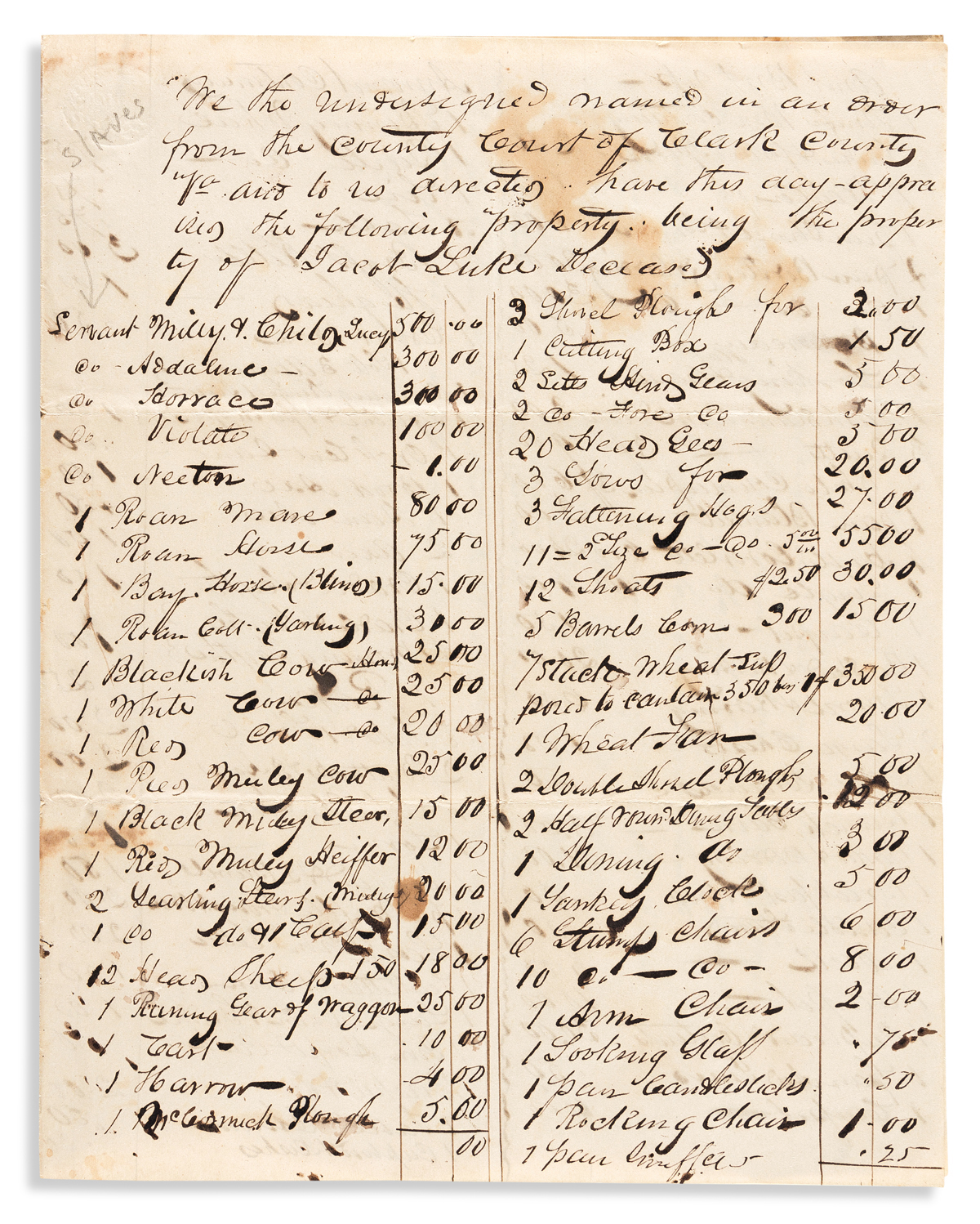 (SLAVERY AND ABOLITION.) Papers of slaveowner John W. Luke of Berryville, Virginia.