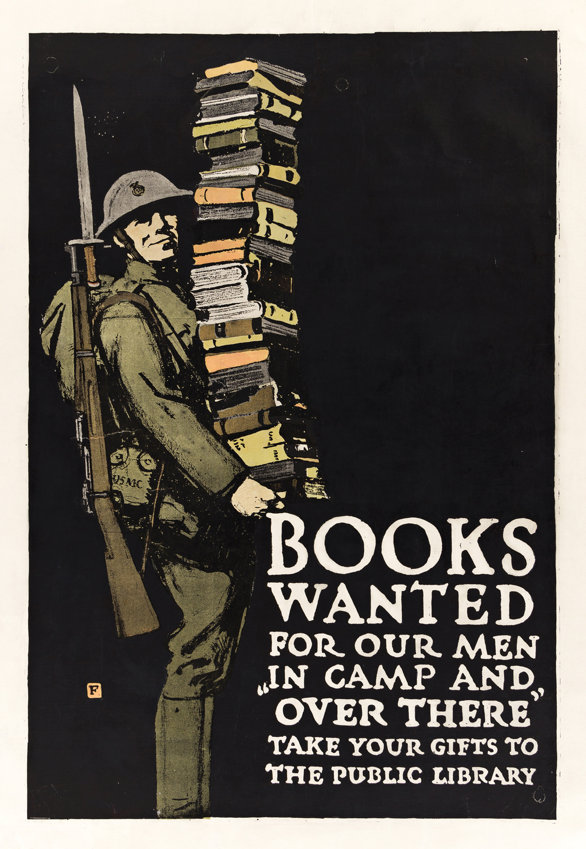 CHARLES BUCKLES FALLS (1874-1960).  BOOKS WANTED FOR OUR MEN IN CAMP AND OVER THERE. Circa 1918. 41¼x28 inches, 104¾x71 cm. The Gill