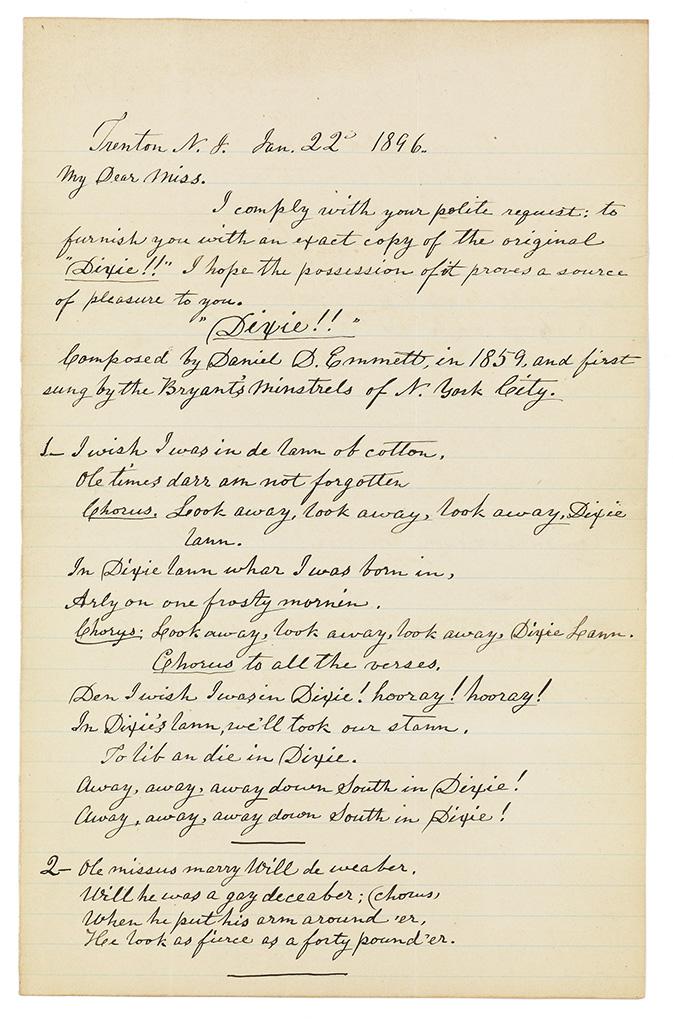 EMMETT, DANIEL D. Autograph Manuscript dated and Signed, Daniel Decatur Emmett (of 1815),