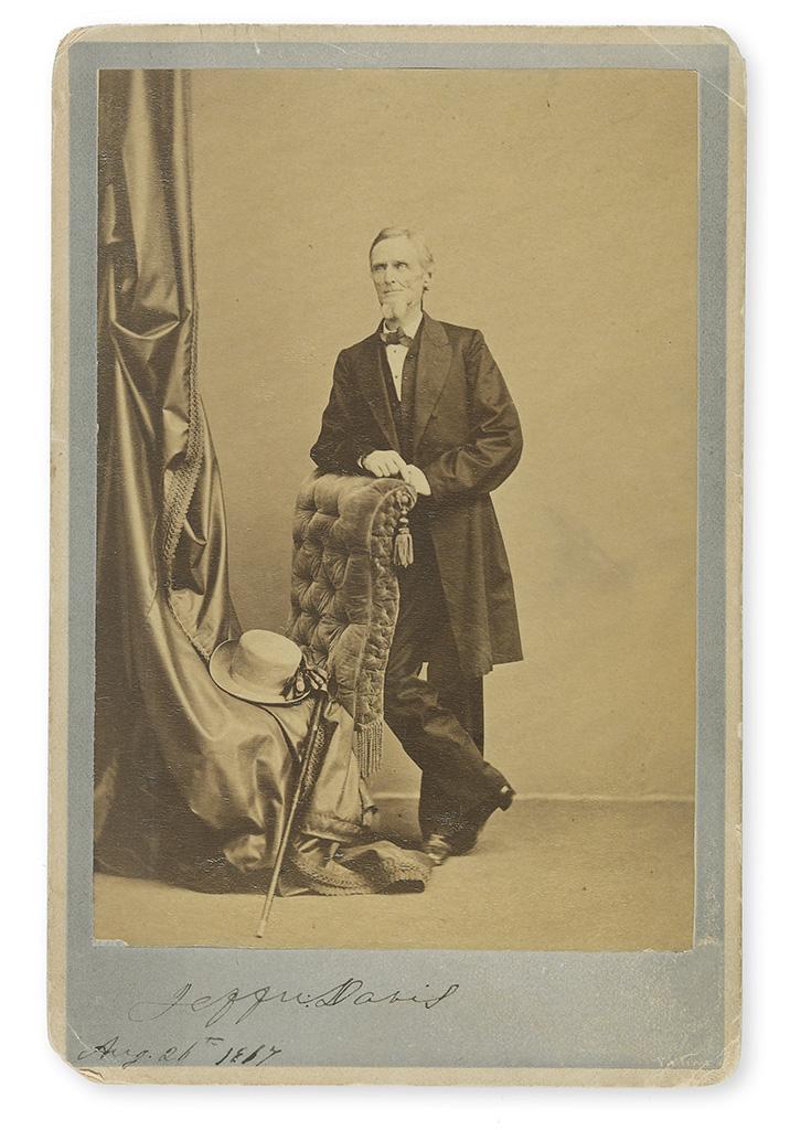 DAVIS, JEFFERSON. Photograph dated and Signed, Jeffn:Davis, cabinet card, full length portrait,