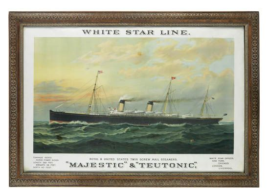 (WHITE STAR LINE.) Majestic and Teutonic. White Star Line. Royal & United States Twin Screw Steamers. Majestic & Teutonic.