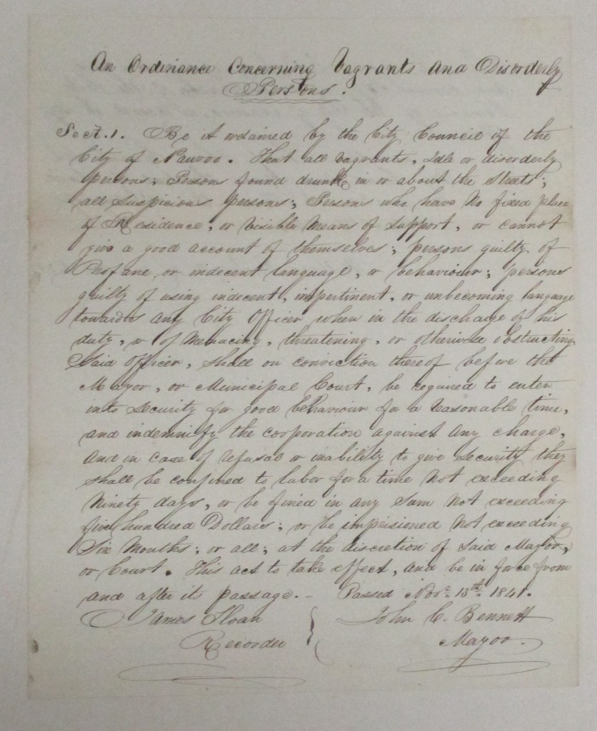 (MORMONS.) An Ordinance Concerning Vagrants and Disorderly Persons.
