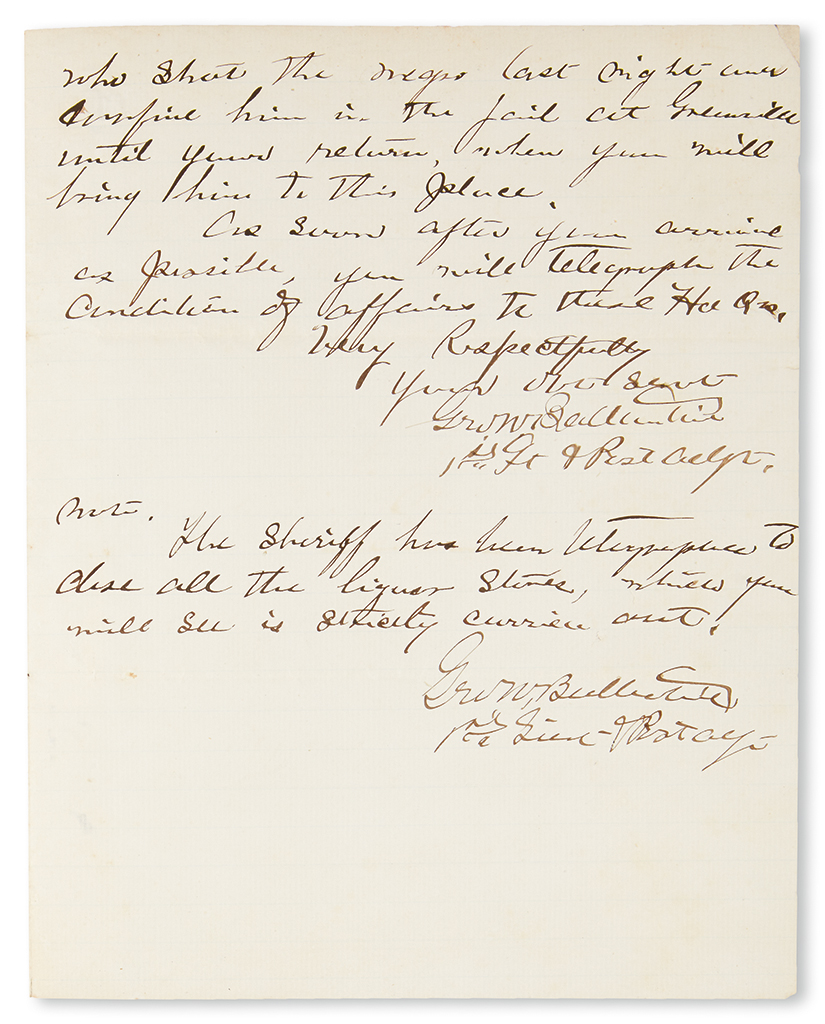 (CIVIL RIGHTS.) SWAYNE, MAJOR GENERAL WAGER. Documents ordering the Arrest and Detainment of a Policeman for the Shooting of an Unarmed