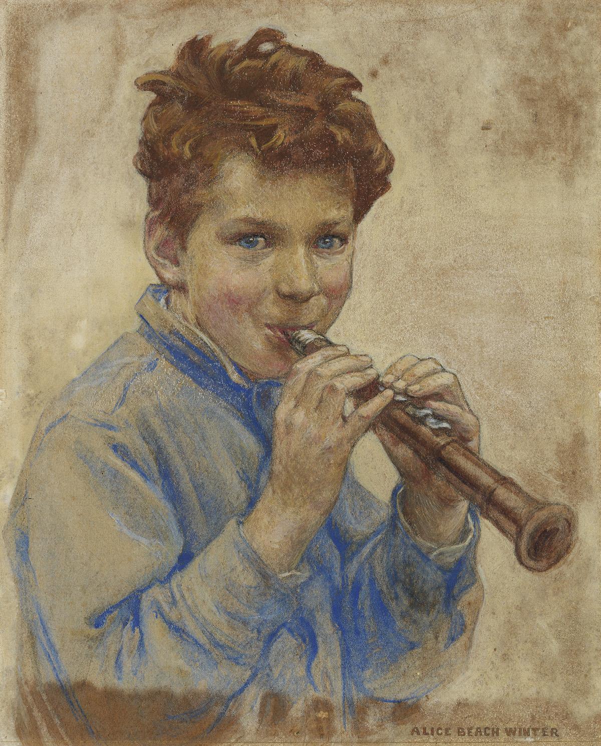 CHILDRENS ALICE BEACH WINTER. Boy with Clarinet.