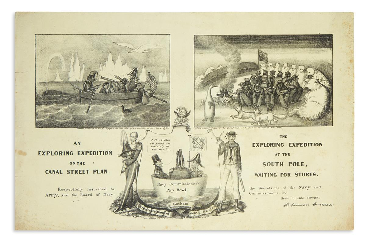 (ANTARCTICA.) An Exploring Expedition on the Canal Street Plan / The Exploring Expedition at the South Pole, Waiting for Stores.