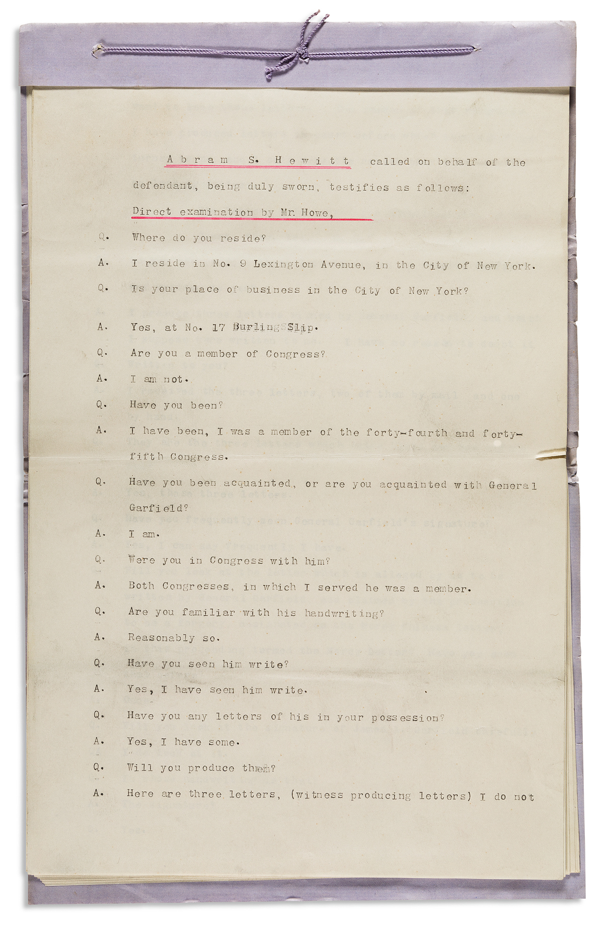 (NEW YORK CITY.) Papers of congressman and philanthropist Abram S. Hewitt.