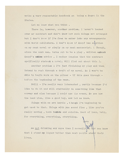 BALDWIN-JAMES-Typed-Letter-Signed-Jimmy-with-3-holograph-cor