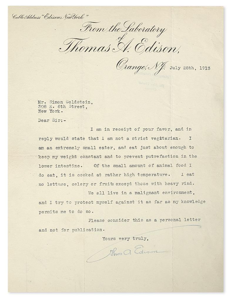EDISON, THOMAS A. Typed Letter Signed, Thos A Edison, to Simon Goldstein,