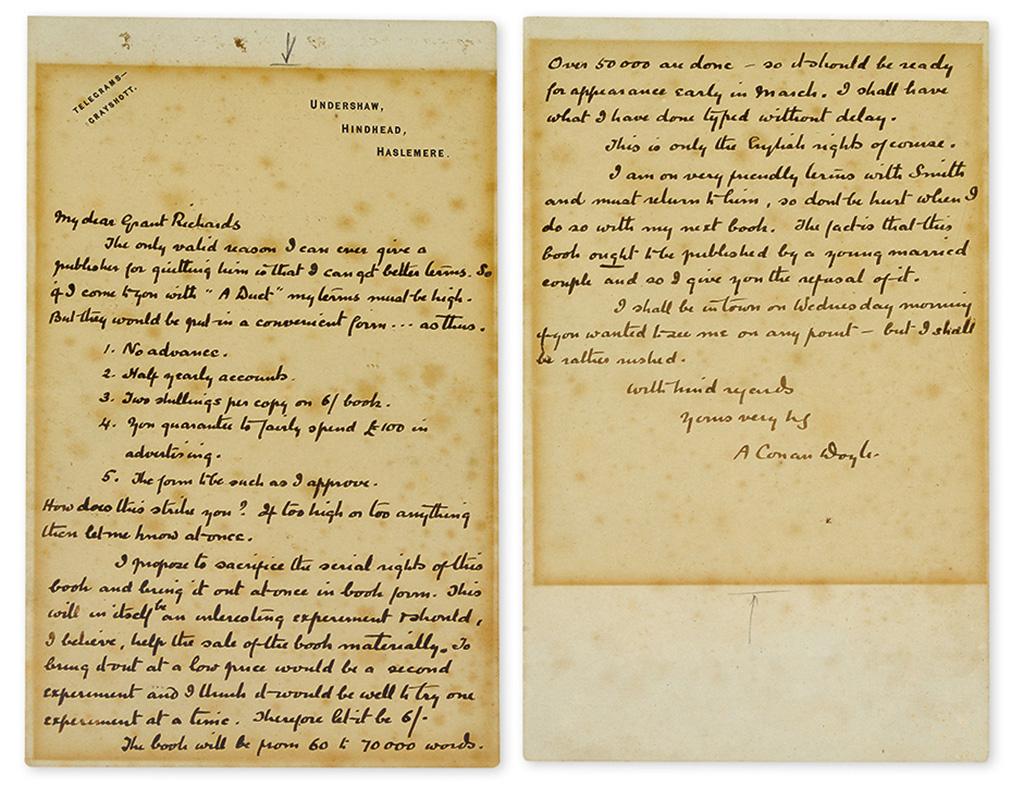 DOYLE, ARTHUR CONAN. Autograph Letter Signed, A Conan Doyle, to publisher Grant Richards,