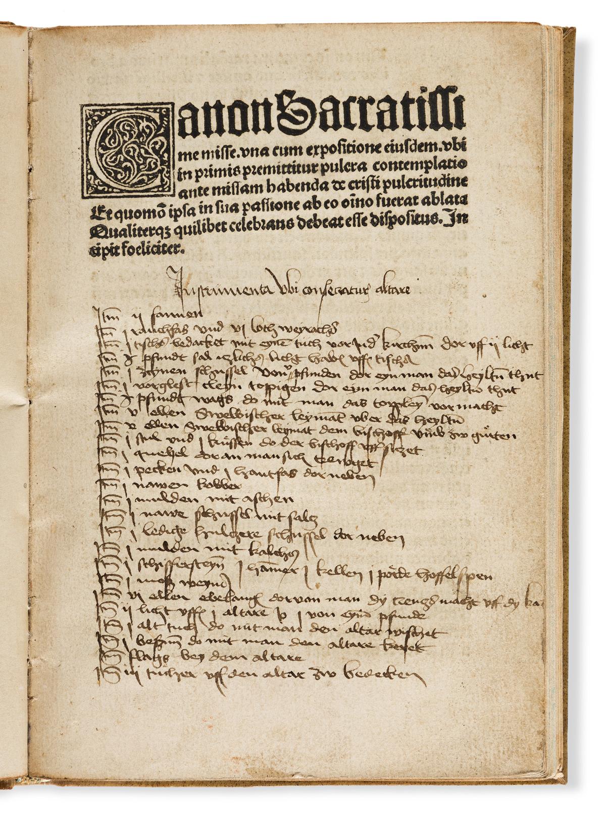 Balthasar de Porta (fl. 1487-1499) Expositio Canonis Missae.
