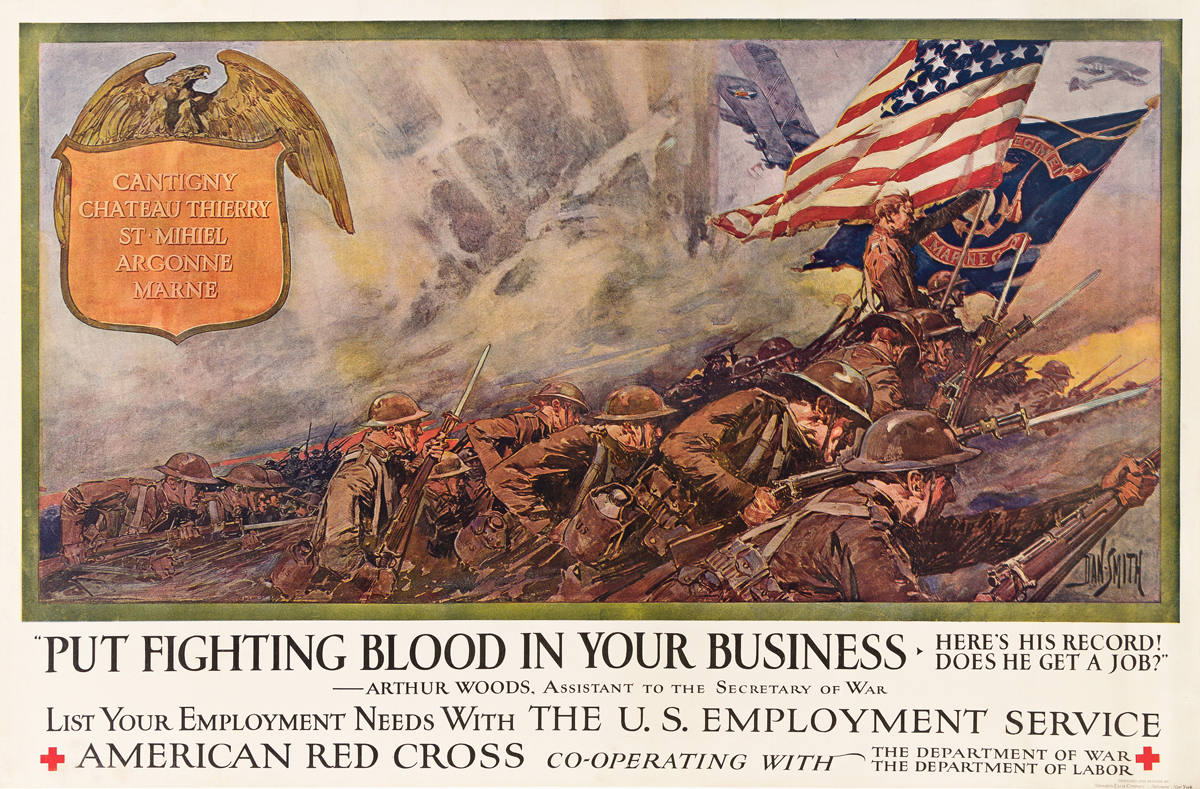DAN SMITH (1865-1934).  PUT FIGHTING BLOOD IN YOUR BUSINESS / AMERICAN RED CROSS. Circa 1917. 25¼x38¼ inches, 64x97 cm. Thomsen-Ellis