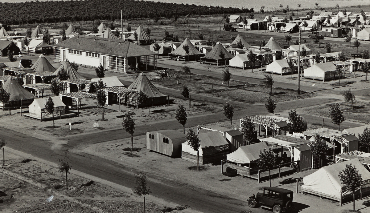 DOROTHEA LANGE (1895-1965) FSA Camp for Migrant Agricultural Workers at Shafter, California.