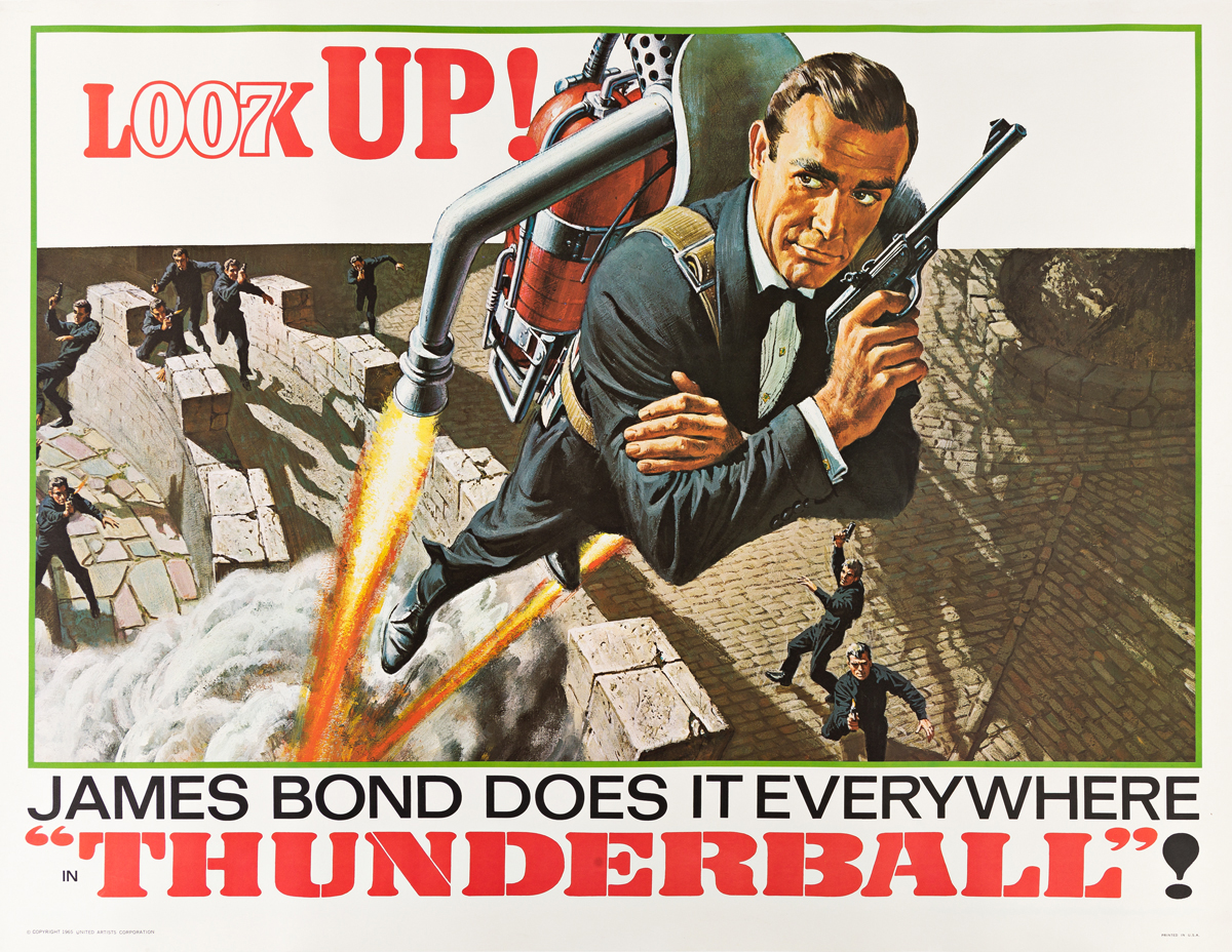 DESIGNER UNKNOWN.  JAMES BOND DOES IT EVERYWHERE / IN THUNDERBALL! 1965. 45x59 inches, 115x150 cm.