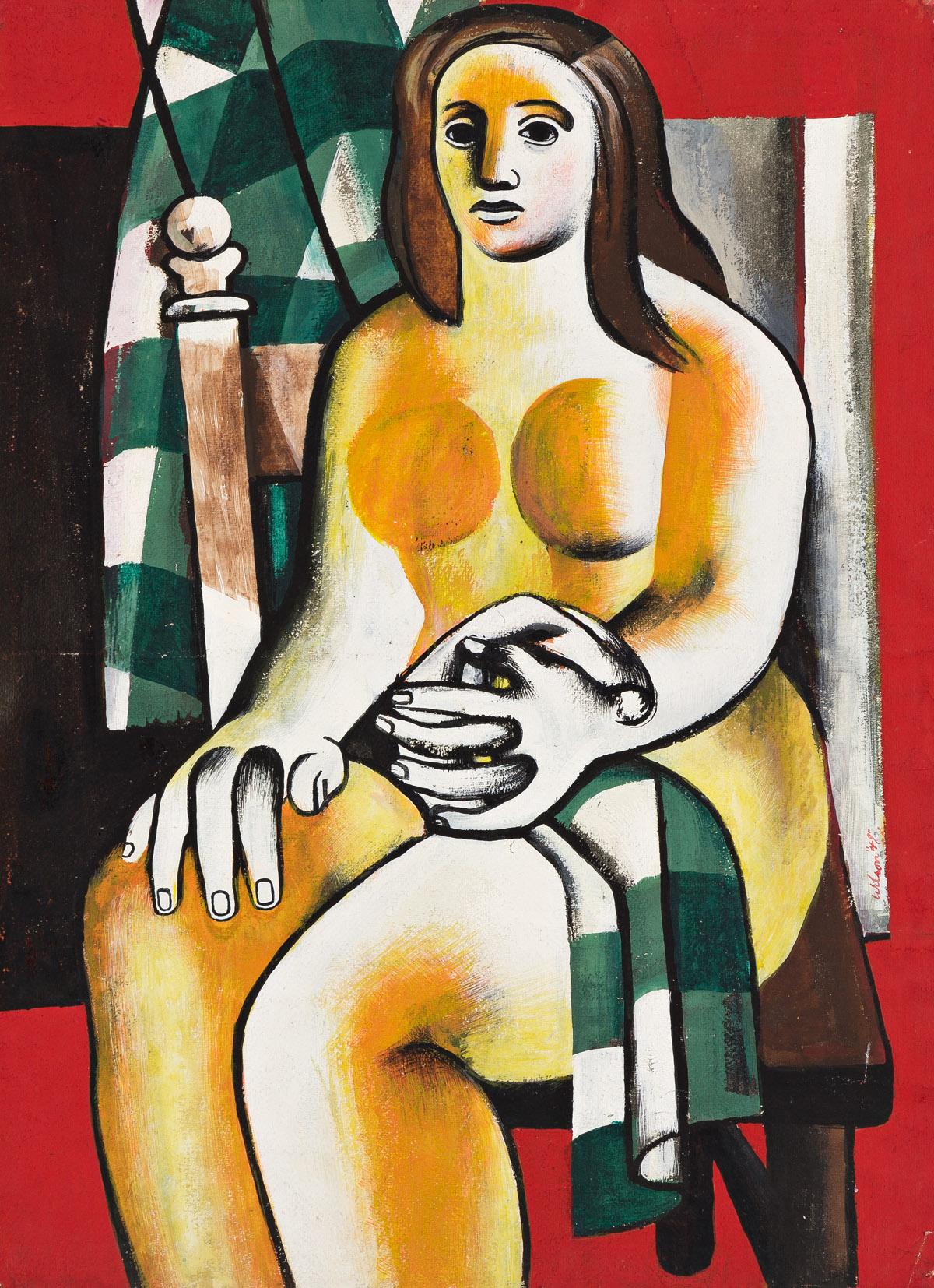 JOHN WOODROW WILSON (1922 - 2015) Green Checked Table Cloth.