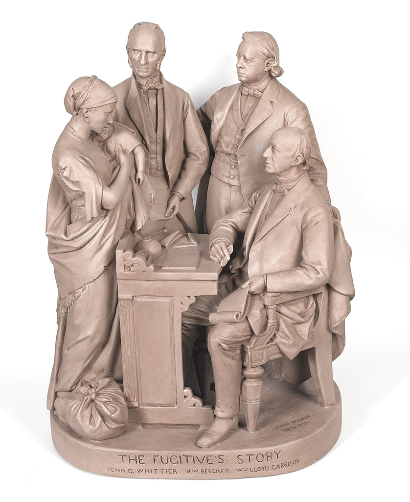 """(SLAVERY AND ABOLITION.) ROGERS, JOHN. """"The Fugitive's Story,"""" large sculpture by John Rogers."""