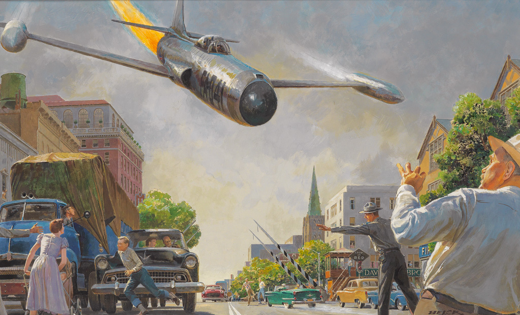 (AIRPLANES.)  PETER HELCK. For a horrible instant Carter thought the jet was going to crash in the street.