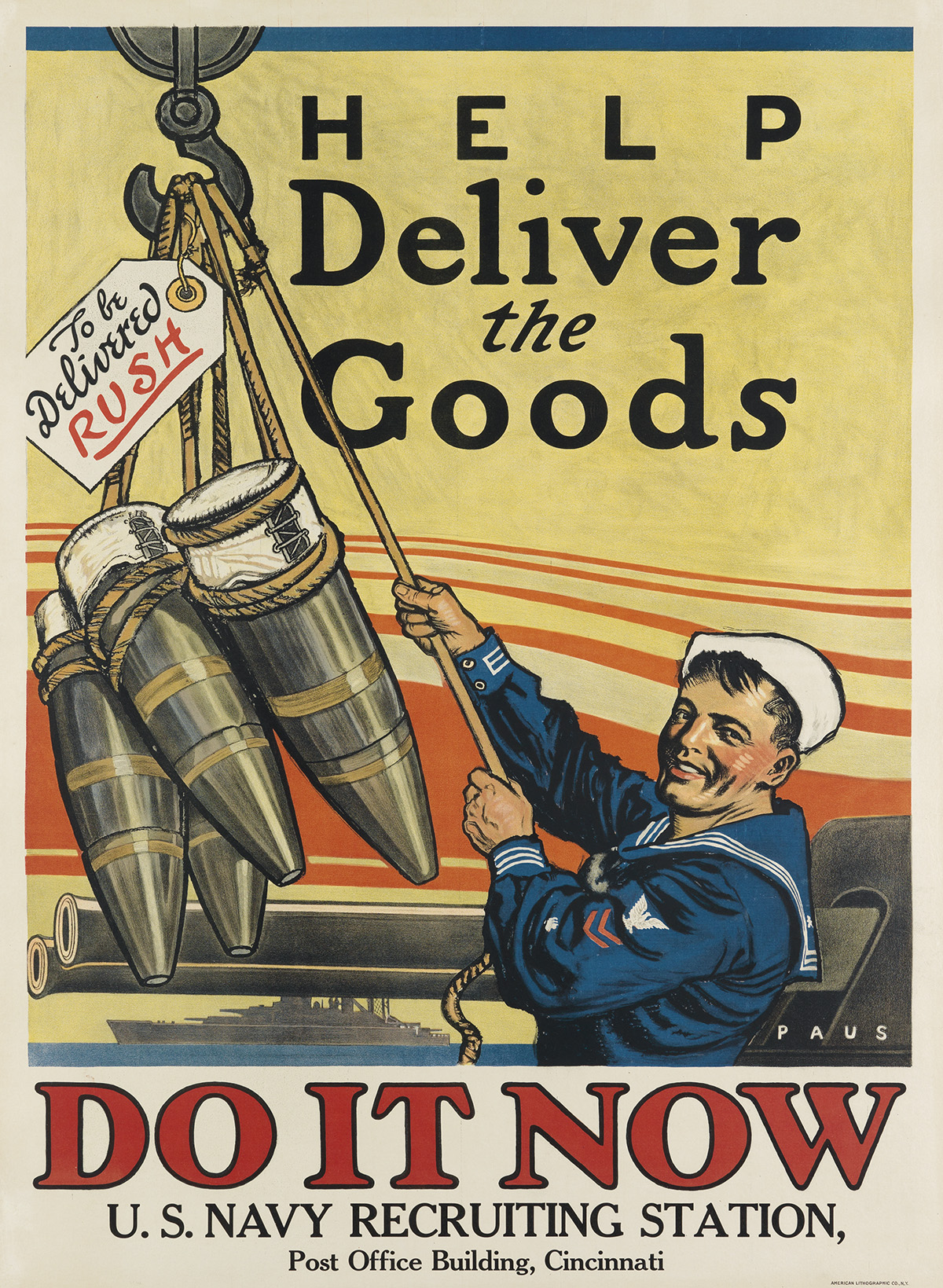 HERBERT ANDREW PAUS (1880-1946). HELP DELIVER THE GOODS / DO IT NOW. Circa 1918. 41x28 inches, 104x71 cm. American Lithographic Co., Ne