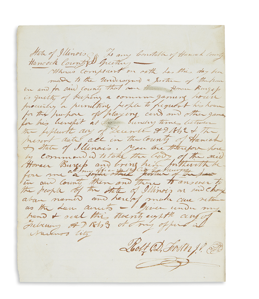 (MORMONS.) Foster, Robert D. Criminal summons signed by a notable early Mormon dissenter.