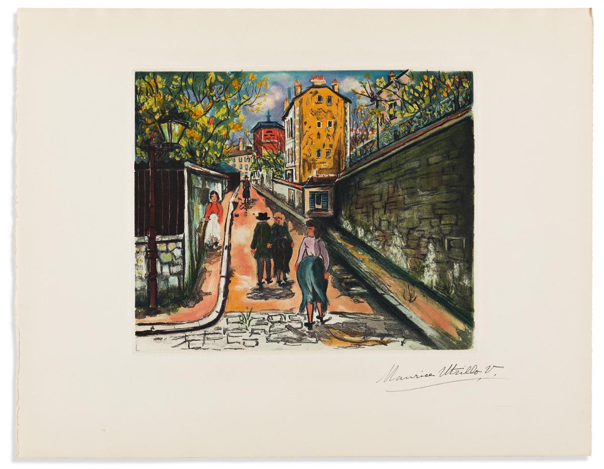 UTRILLO, MAURICE. La Rue Norvins à Montmartre.