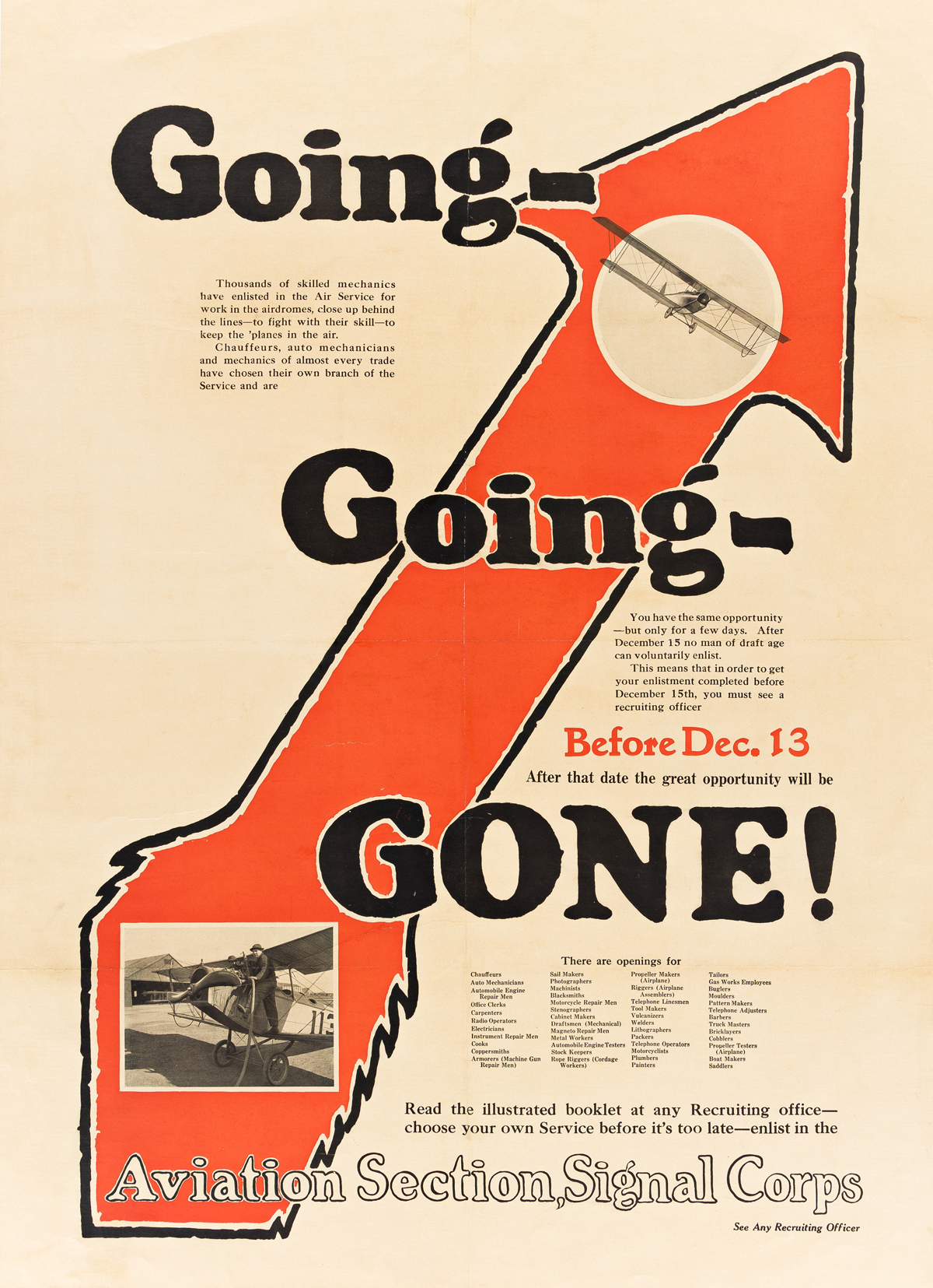 DESIGNER UNKNOWN.  GOING - GOING - GONE! / AVIATION SECTION, SIGNAL CORPS. Circa 1917. 42¼x30½ inches, 107¼x77½ cm.