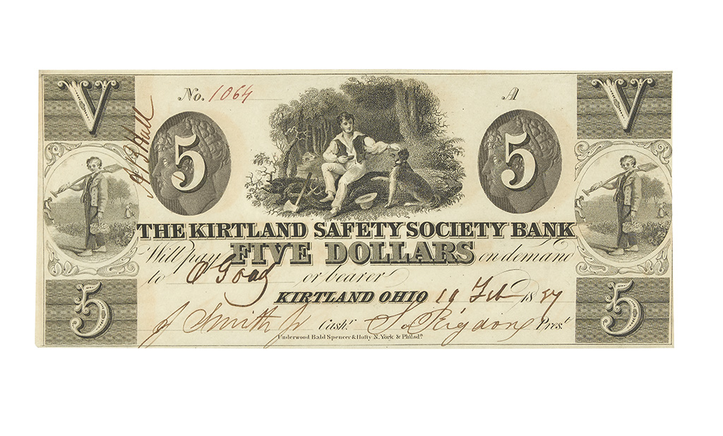 (MORMONS.) $5.00 obsolete banknote issued by the Kirtland Safety Society Bank.