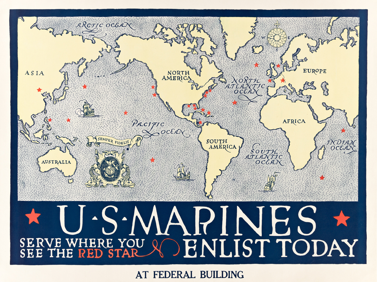 DESIGNER UNKNOWN.  U.S. MARINES / SERVE WHERE YOU SEE THE RED STAR. Circa 1917. 31x41½ inches, 78¾x105½ cm.