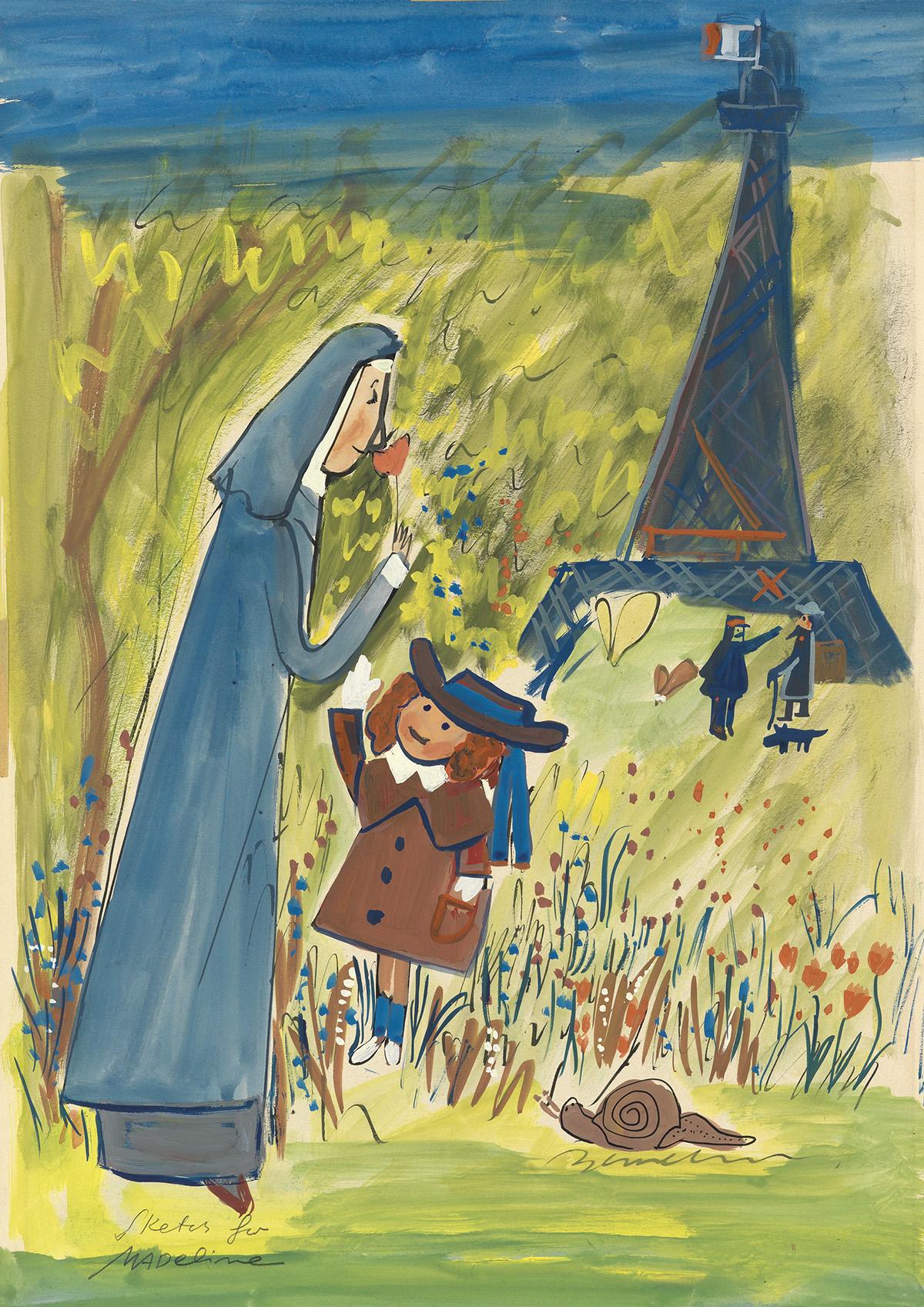 CHILDRENS-LUDWIG-BEMELMANS-Sketch-for-Madeline