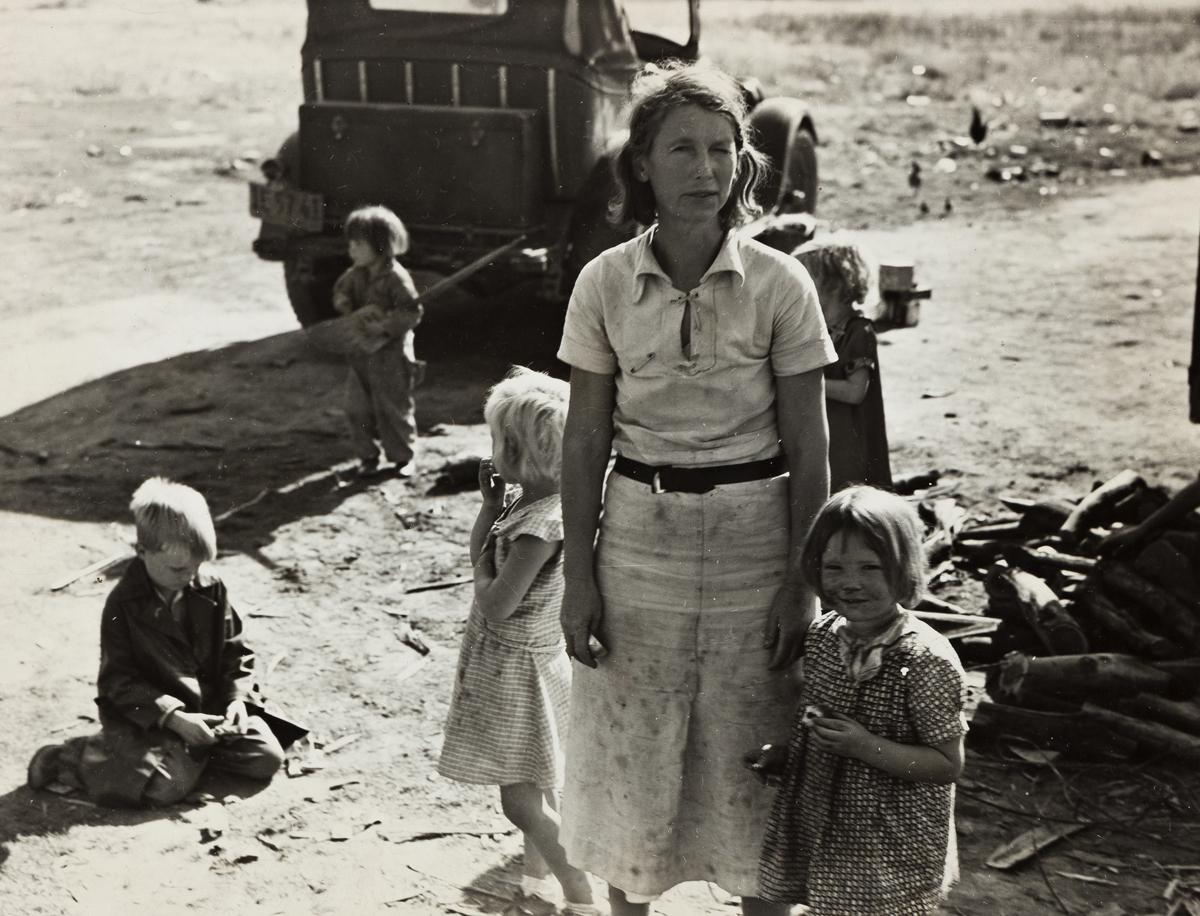 DOROTHEA LANGE (1895-1965) Oklahoma mother of five children now picking cotton in Calif.