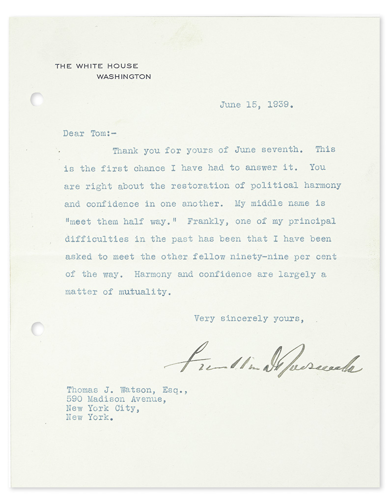 ROOSEVELT, FRANKLIN D. Typed Letter Signed, as President, to Thomas J. Watson,