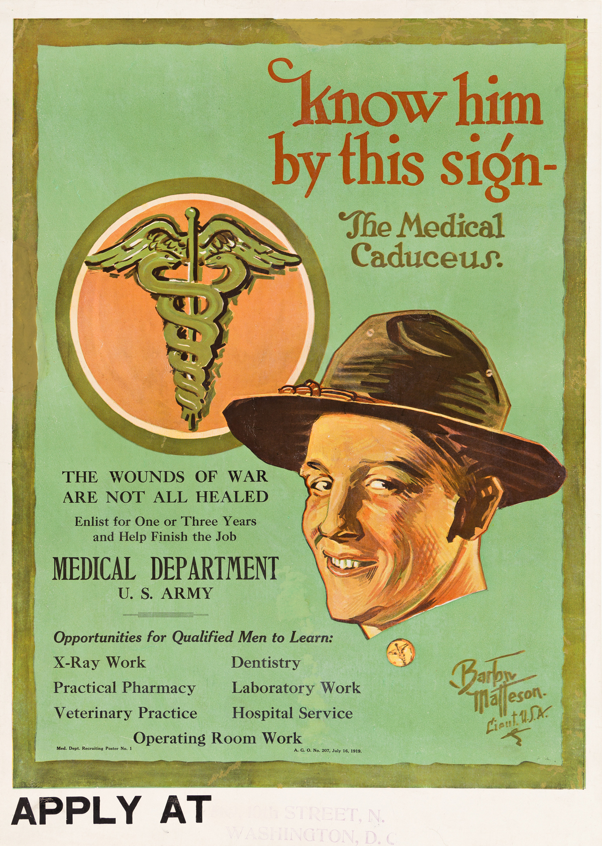 BARTOW MATTESON (1894-1984).  KNOW HIM BY THIS SIGN - THE MEDICAL CADUCEUS. 1919. 28½x20¼ inches, 72¼x51½ cm.