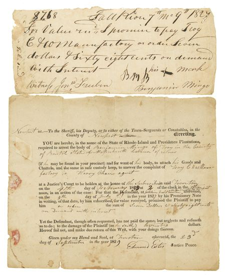 (SLAVERY AND ABOLITION.) A printed warrant for the arrest of Benjamin Mingo, laborour of colour for an unpaid debt from 1824 owed to