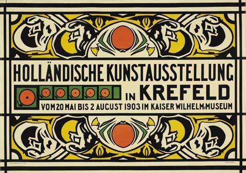 JOHAN THORN PRIKKER (1868-1932) HOLLANDISCHE KUNSTAUSTELLUNG / KREFELD. 1903. 33x47 inches. S. Lankhout, Haag.