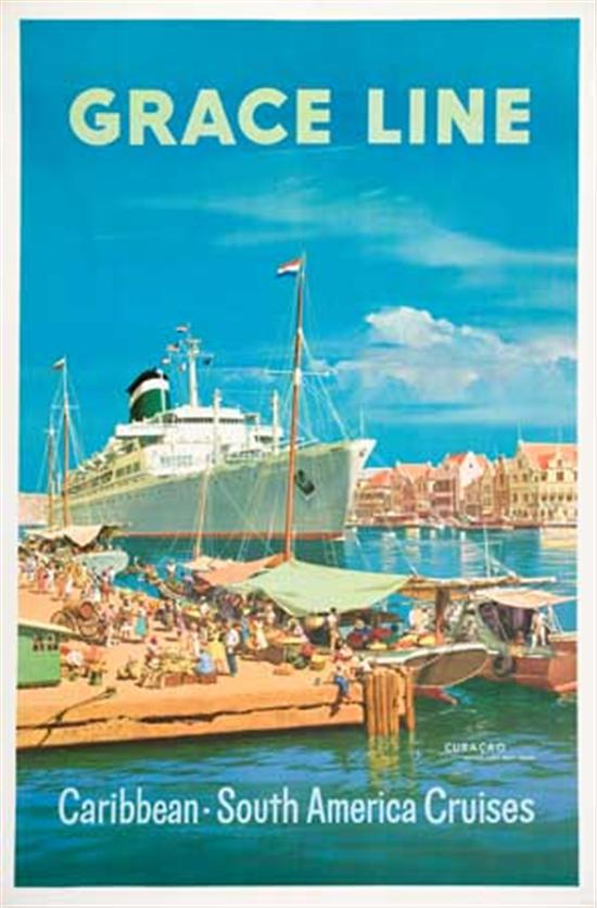 (GRACE LINE.) Group of 7 large format color lithographed advertising posters, some designed by Evers, each...