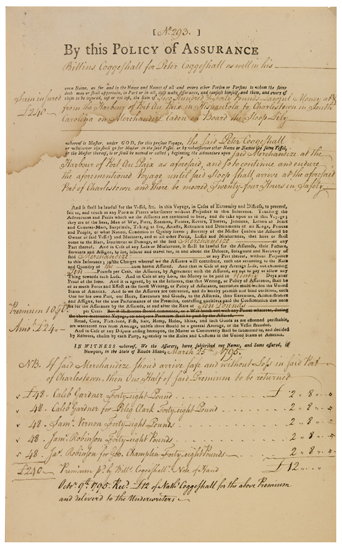 (SLAVERY AND ABOLITION.) VERNON, SAMUEL AND WILLIAM. Insurance policy for a slave ship.