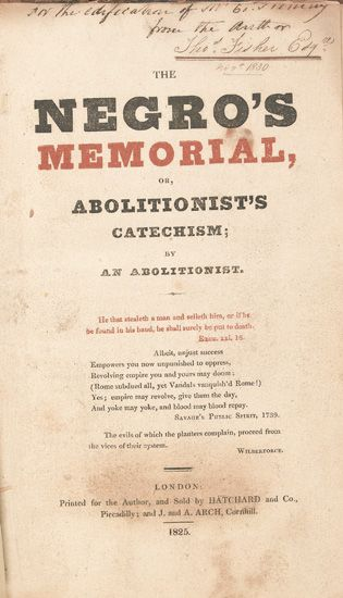 (SLAVERY AND ABOLITION--NARRATIVES.)--FISHER, THOMAS & OTTOBAH CUGUANO. The Negros Memorial or Abolitionists Catechism.