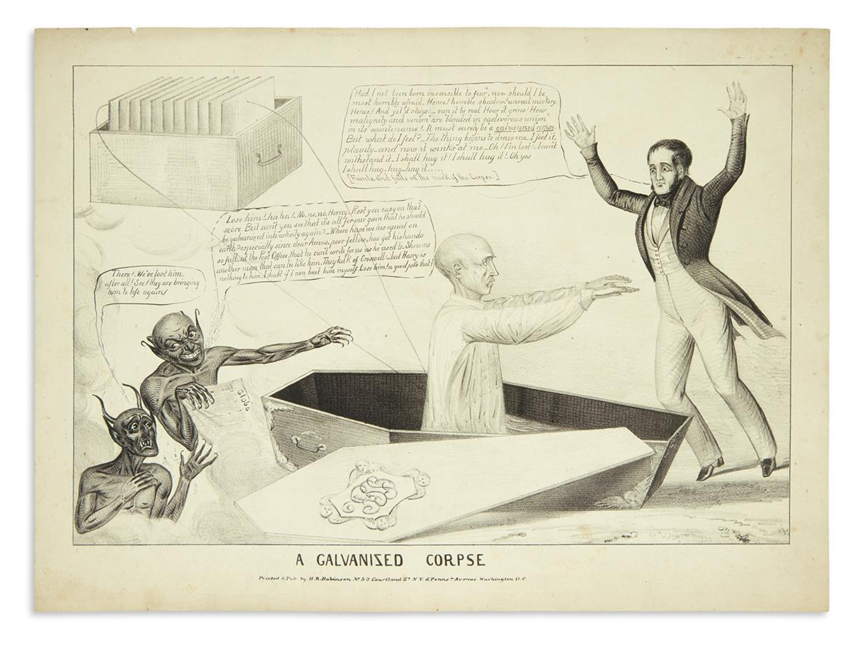 (PRESIDENTS--1836.) A Galvanized Corpse, with two other H.R. Robinson prints.