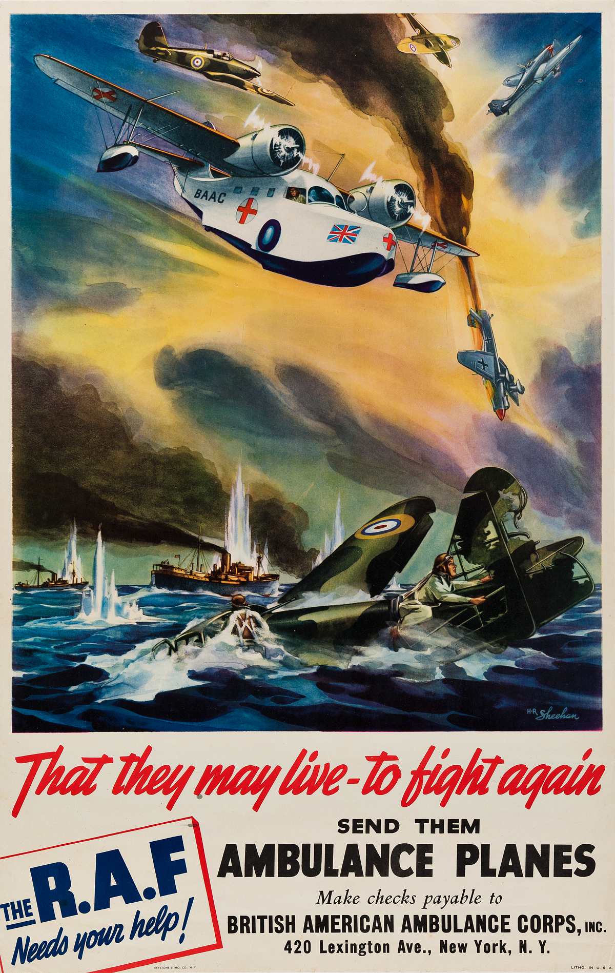 HR-SHEEHAN-(DATES-UNKNOWN)-RAF--THAT-THEY-MAY-LIVE---TO-FIGHT-AGAIN-Circa-1940-28x18-inches-71x45-cm-Keystone-Litho-Co-Ne