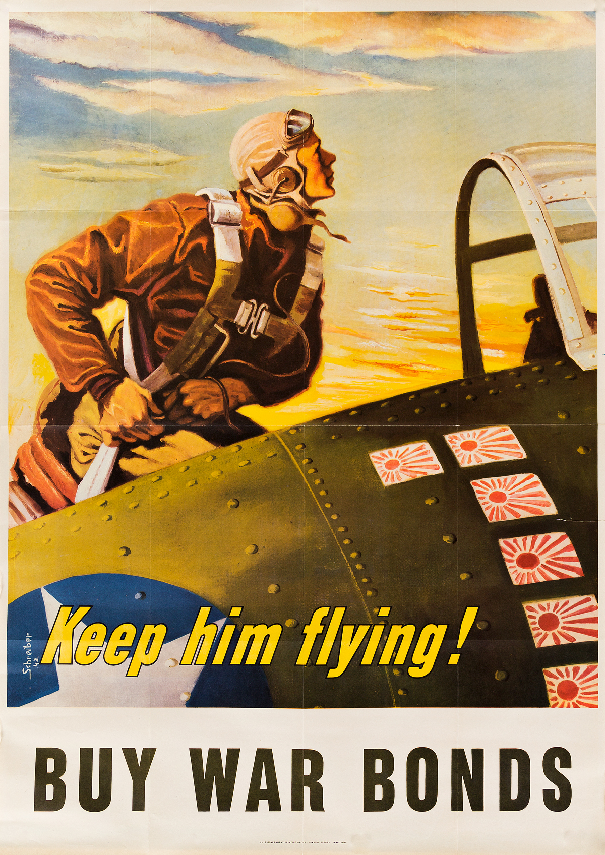 GEORGES-SCHREIBER-(1904-1977)-KEEP-HIM-FLYING--BUY-WAR-BONDS-1943-40x28-inches-101x72-cm-US-Government-Printing-Office-[Washi